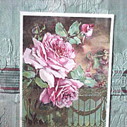 Framed 1908 pink and red rose themed postcards