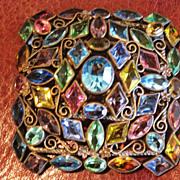 Unfoiled multi colored rhinestone square pin