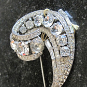 Sterling Trifari crown rhinestone comma shaped fur clip