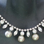 Pretty prom Rhinestone necklace with dangle simulated pearls