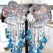 Vintage Nightingale hand beaded crystal dangle clip earrings