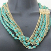 Multi strand green glass bead and chain necklace