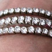 Vintage clear rhinestone flex bracelet