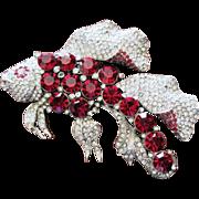 Vintage Costume Jewelry Figural  Rhinestone Fish Pin