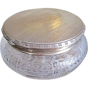 SOLD Art Deco STERLING topped etched GLASS dresser jar - Red Tag Sale Item