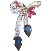 Elegant Charles Winston Estate pin sterling with crystal baguettes, pears and marquis CZ's