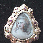 Czech gold plated portrait pin with pink rhinestones