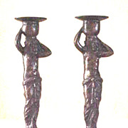 Pair of Art Deco semi nude bronze candlesticks after Muller