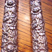 Vintage Kirk Repousse Sterling carving set weighted handles
