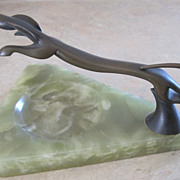 Austrian Art Deco bronze running dog ashtray on marble