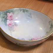 Porcelain bowl hand painted with pink roses and foliage