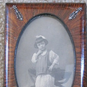 Victorian polished Mahogany picture frame sterling accents