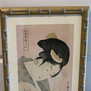 Japanese etching of a woman mounted on rice paper