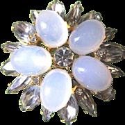 Vintage costume jewelry round pin   Pools of Light