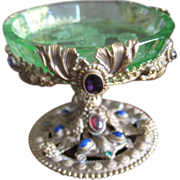 SOLD Jeweled filagree ring stand with acid etched glass inset