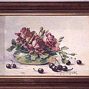 Arts and Crafts still life of roses and cherries by Henry Rezac
