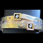 Retro 14k yellow gold bangle style diamond bracelet