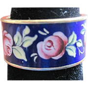 18k Yellow Gold Blue with Pink Rose Enamel Wedding Band