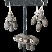 Victorian Mourning Jewelry 12kg pin & dangle earrings