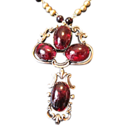 Antique English Garnet pendant and pin on 14K beaded chain