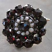 Czech vermeil and European cut garnets with seed pearls