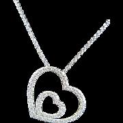 Italian 18k white gold double heart diamond necklace