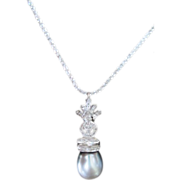 18kwg Diamond and South Sea grey pearl pendant necklace