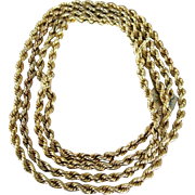 "Unisex14k yellow gold rope chain 68"" long stamped on clasp"