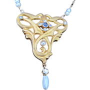 Art Nouveau 14kyg diamond & sapphire pendant necklace