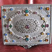 SOLD Czech. gold plated brass jewel box with bezel set rhinestone top