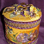 Victorian Collar box covered with vintage fabric and trim