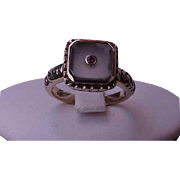 Estate Vintage Art Nouveau 14K Yellow Gold Enameled Filigree Ring:Genuine Moonstone and Ruby .
