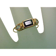 Unique Art Deco 14K Yellow Gold Genuine Aquamarines & Genuine Green Tourmaline Ring,early 1900