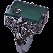 Estate Vintage Chrysoprase 14k White Gold Diamond Filigree Ring, Circa 1950s