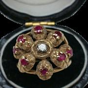 Estate Art Deco 14k Yellow Gold Ring:Diamond & Rubies,1930's
