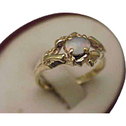 Estate Vintage Deco 14k Yellow Gold Genuine Opal Ring, 1950's