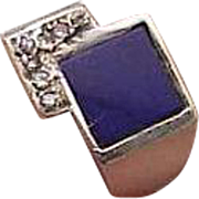 Estate Vintage 10k White Gold Diamond lapis lazuli Ring, 1930s