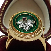 Incredible works of Art, Victorian Green Enameled 750(18k) Yellow Gold Genuine Ruby & Rose  Cu