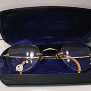 REDUCED Vintage  14K Gold  Wire  Rim Glasses With Original Eye Glass Case