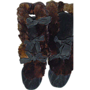 SOLD Vintage Pair of Velvet and Fur   Boots By  Wanamaker 's