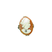 10K Gold Habille Shell Cameo Ring Size 7
