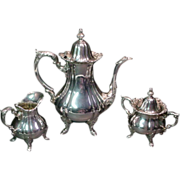 Wallace Rose Point Coffee Set  Silver Plate