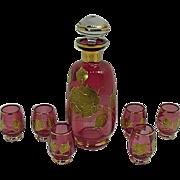 SOLD Moser Cranberry Glass Decanter Set Circa 1900's
