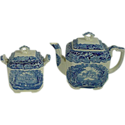Mason's Vista Blue Transferware  Teapot And Matching Sugar Bowl