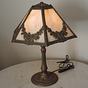 Vintage Slag Glass Table Lamp