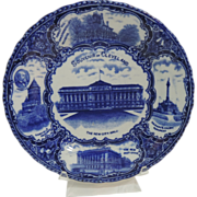 Staffordshire England  Flow Blue Souvenir Plate of Cleveland Ohio