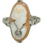 14 Karat Filigree White Gold Habille Cameo Ring With Diamond Necklace