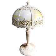 Vintage Slag Glass Table Lamp