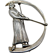 Signed Sterling Woman's  Golf Pin