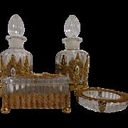 Vintage Heisey Vanity Vanity Dresser Set With Guilloche enamel decorations